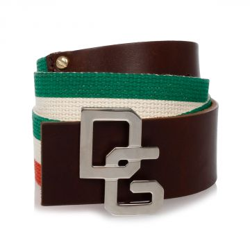 Leather and Italian Flag Colors Fabric Belt 40 mm