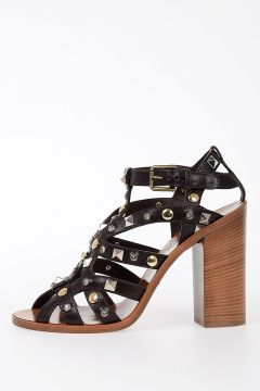 11cm Studs Leather Sandals