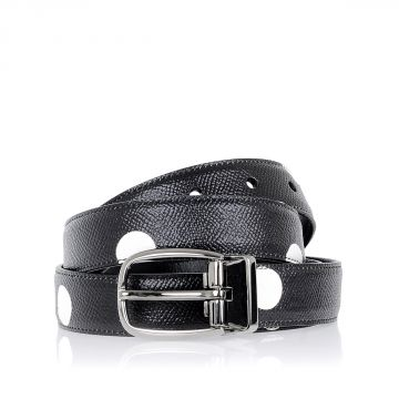 Polka Dot Leather Belt 25 mm