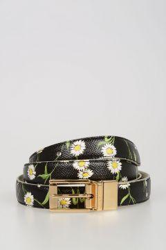 Cintura in Pelle con Margherite 10mm