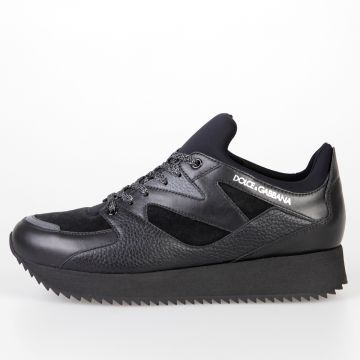 Leather & Technical Fabric Sneakers