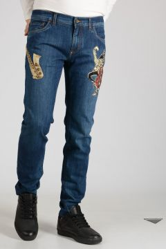 17cm Stretch Denim Musical Embroidered Jeans