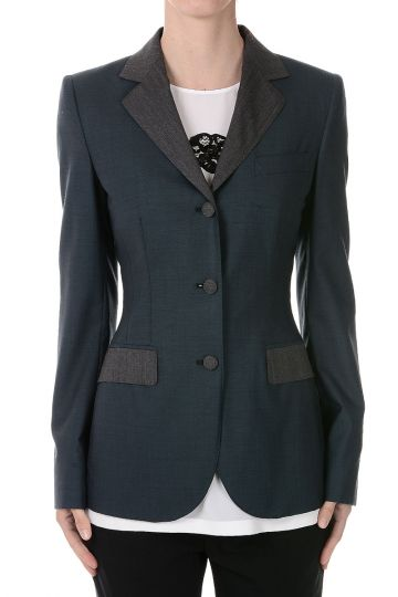 Virgin Wool Stretch Single Breasted Blazer