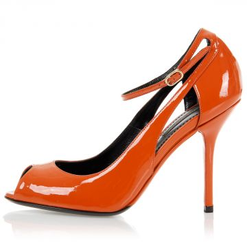 Patent Leather Open Toe Pump Shoes