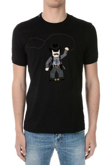 T-shirt In Jersey di Cotone Ricamata