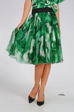 Banano Printed silk Skirt