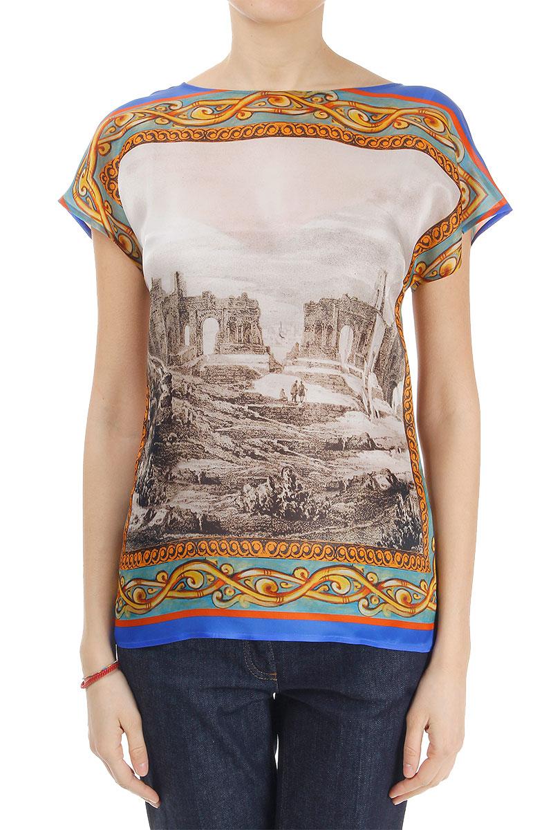Dolce gabbana women patterned silk t shirt glamood outlet for Dolce gabbana t shirt women