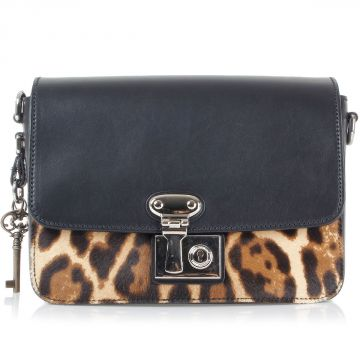 Leather Shoulder Bag with Leopard Print Pony Skin