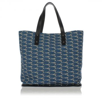 Fabric Shopping Bag with Swordfish Print