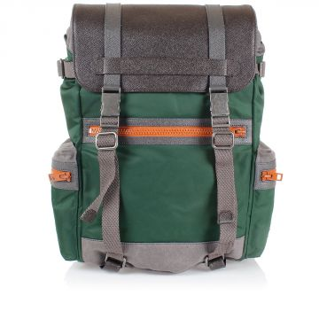 Nylon and Leather Backpack
