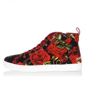 Flower pattern high sneakers