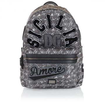Embroidered printed backpack