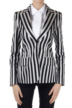 Silk and Cotton Mixed Striped Blazer