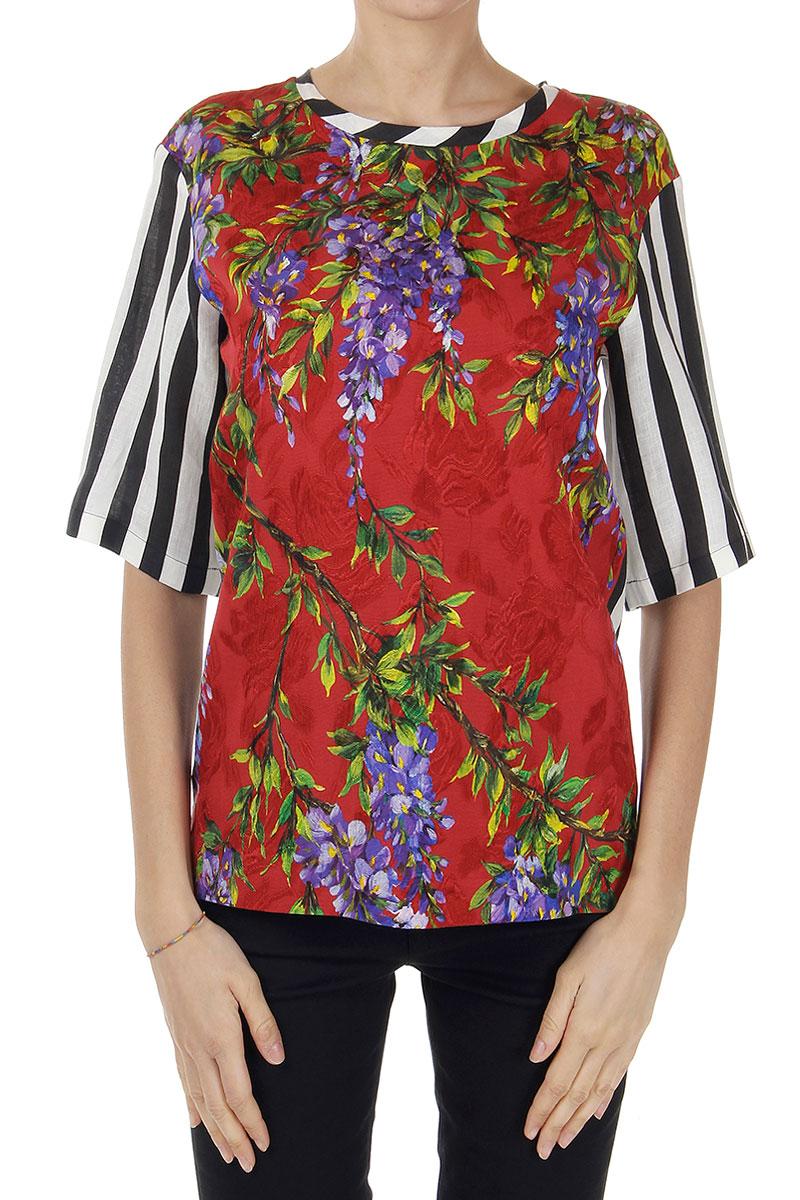 Dolce gabbana women striped t shirt with floral pattern for Dolce gabbana t shirt women