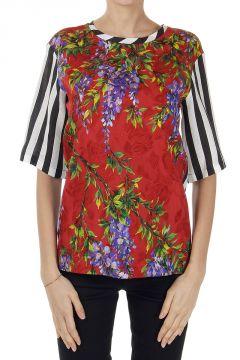T-Shirt a Righe con Fantasia Floreale