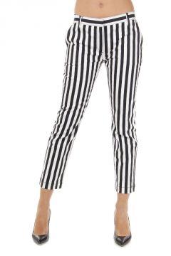 Jeans Capri Fit a Righe in Denim Stretch 18 cm