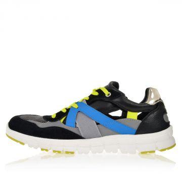 Sneakers Multicolor in Tessuto e Pelle