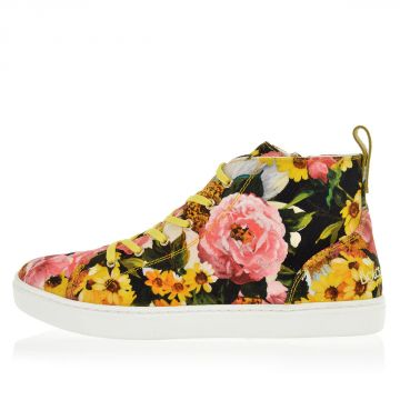 Sneakers Alte in Tessuto con Stampa Floreale