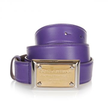 Leather Belt with Logo Printed Buckle