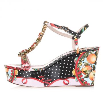 Floral Printed Patent Leather Sandals Heel 9.5 cm