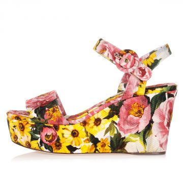 Floral Printed Wedge Sandals Heel 9.5 cm