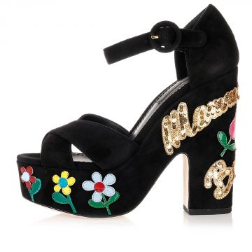 Suede Sandals with Embroideries and Sequins Heel 13 cm
