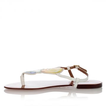 Lemon Printed Patent Leather Sandals