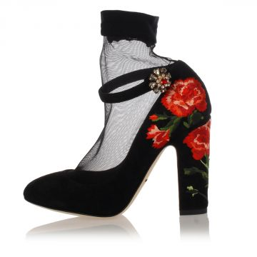 Suede Pump with Embroideries Heel 10 cm