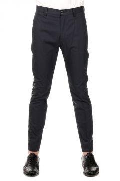 Pantalone in Misto Cotone con Bande Laterali