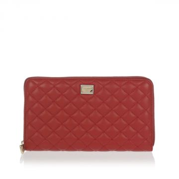 Leather Quilted Wallet Zip around