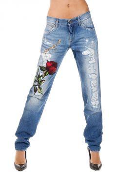 Jeans in Denim Destroyed con ricamo AMORE PER SEMPRE 16 cm