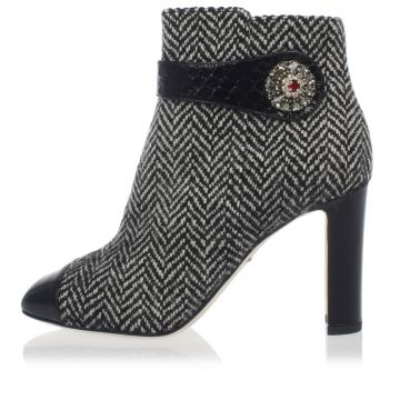 Tweed Ankle Boots with Details in Phyton Leather