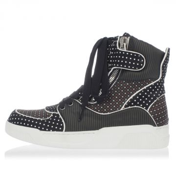 Sneakers Alte in Raso e Nylon con Zip
