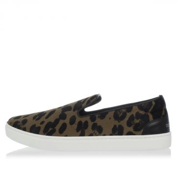 Leopard Pony Skin Slip On Sneakers