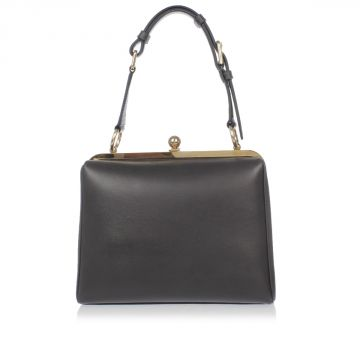 Leather Trunk Bag with gold tone Details