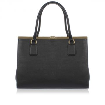 Calf Leather Bag with Gold Tone Details