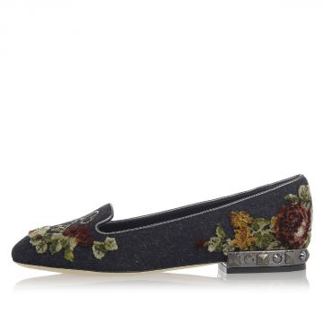 Leather Ballet Flat with Velvet