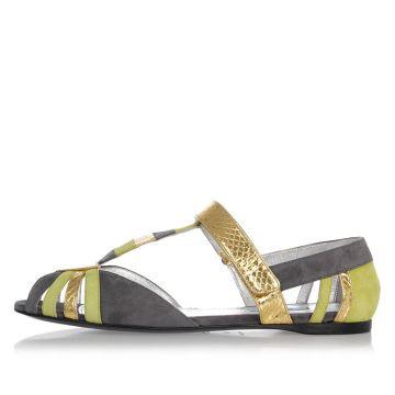 Sandali in Pelle con Dettagli Oro