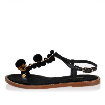 Sandalo PORTOFINO in Pelle con Fiori e Pon Pon