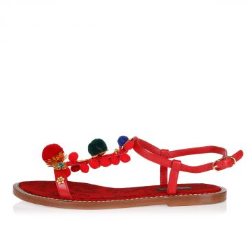 Leather PORTOFINO Sandal with Flowers and Pompom