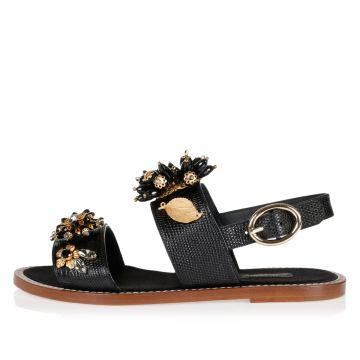 Leather PORTOFINO Sandal with Flowers