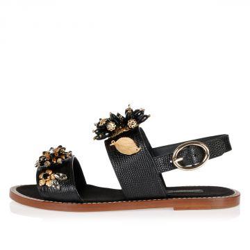 Sandalo PORTOFINO in Pelle con Fiori
