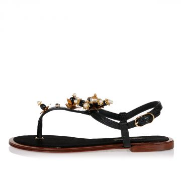 Leather STROMBOLI Flip-flops Sandal with Flowers