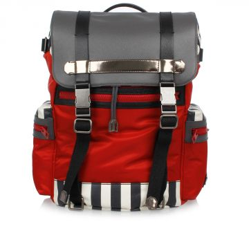 Canvas and Nylon Backpack with Striped Detail