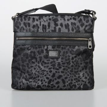 Borsa Leopardata in Nylon e Pelle