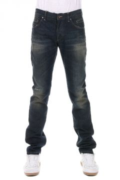 Jeans in Denim con Strappi 18 cm