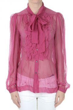 Silk Shirt with Scarf Collar