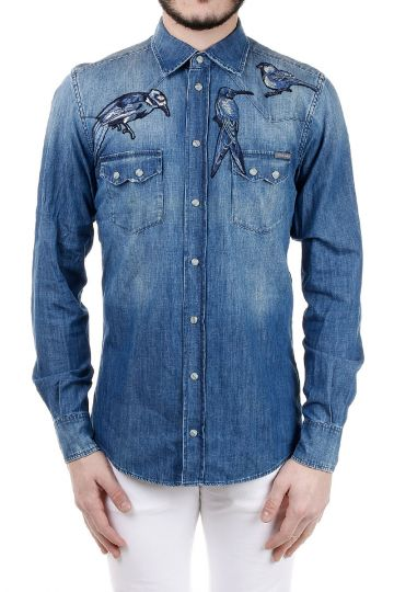 Camicia in Denim Ricamata