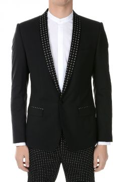 Virgin Wool Blend Single Breasted Blazer