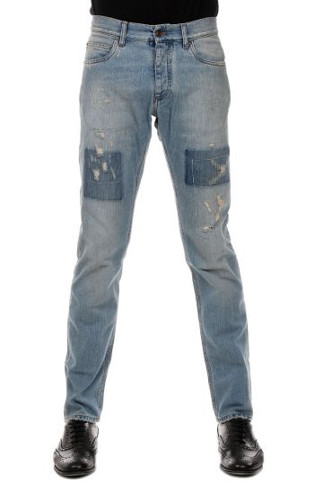 Jeans in Denim Effetto Vintage 18 cm